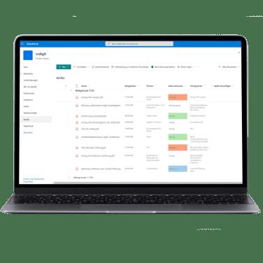 Laptop mit Sharepoint Liste