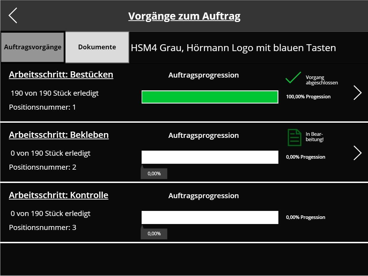 Fertigungsapplikation in PowerApps mit Demodaten - hier Fortschrittsbalken zu sehen