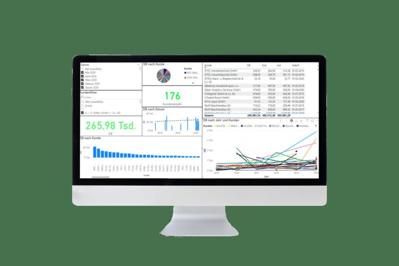 PowerBI Report auf einem Bildschirm zu Visualisierung