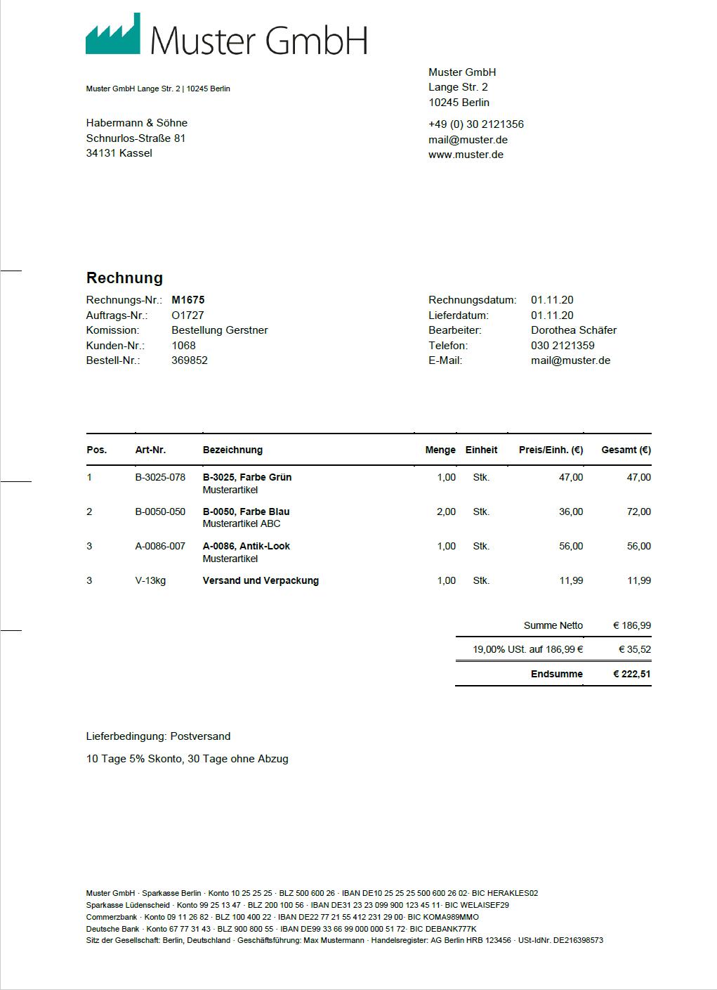 Originalrechnung vor der Rechnungsdatenextraktion