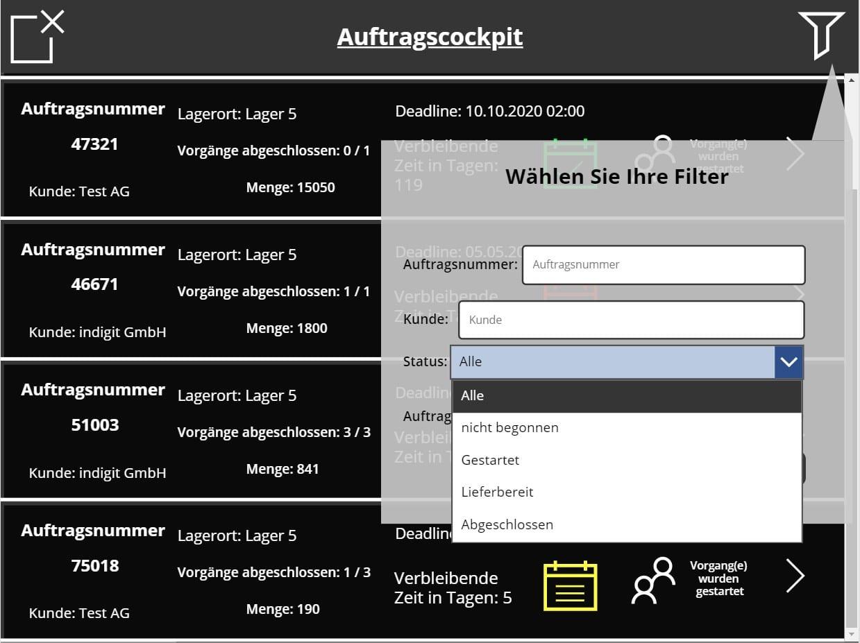 Fertigungsapplikation in PowerApps mit Demodaten - hier Filter zu sehen